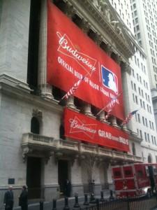 Budweiser banner for MLB at NYSE